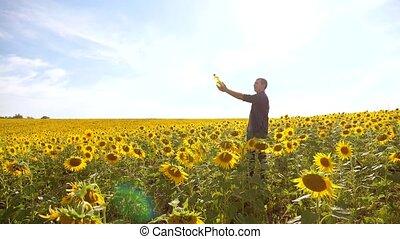 Man farmer hand hold bottle of sunflower oil the field at...