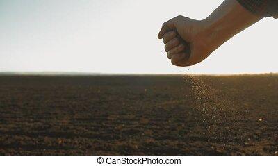 man farmer holding the soil in his hand Agricultural Farm...