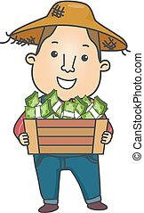 Man Farmer Income Money Crate