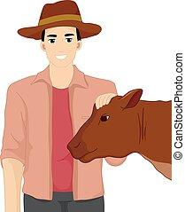 Man Farmer Livestock Show Cow - Illustration of a Farmer in...
