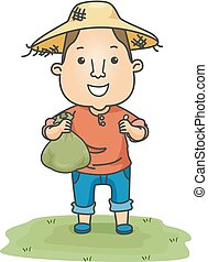 Man Farmer Money Bag Okay Illustration