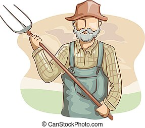 Man Farmer Pitchfork
