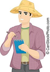 Man Farmer Take Notes