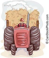 Man Farmer Tractor Hay