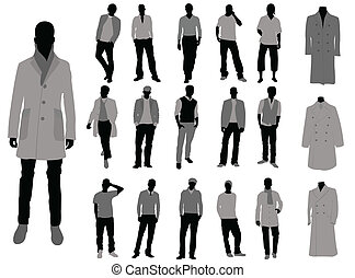 man fashion - collection of man silhouette