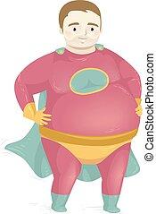 Man Fat Superhero Costume Illustration - Illustration of a ...