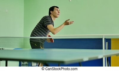 man feed serve playing athlete sport video table tennis slow...