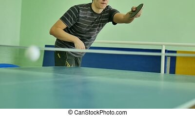 man feed serve playing athlete table tennis sport slow...
