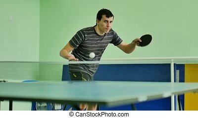 man feed serve playing athlete table tennis video sport slow...