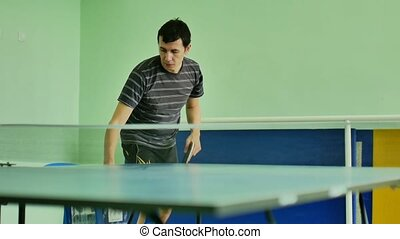 man feed serve playing athlete video sport table tennis slow...