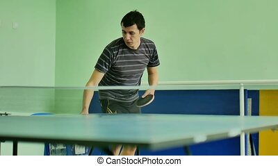 man feed serve playing sport athlete video table tennis slow...