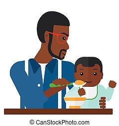 Man feeding baby. - An african-american dad holding a spoon...