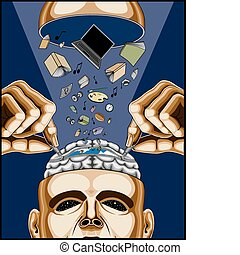 Man opening his zippered brain to feed it healthy knowledge, strength, information and life on a blue background.
