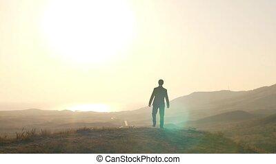 Man feel freedom on nature