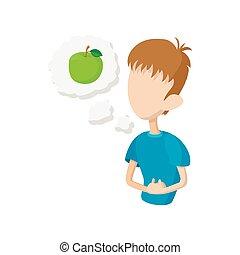 Man feel hungry icon, cartoon style