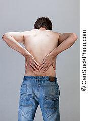 Man feeling backache