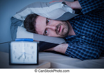 Man feeling bad because of insomnia disorder