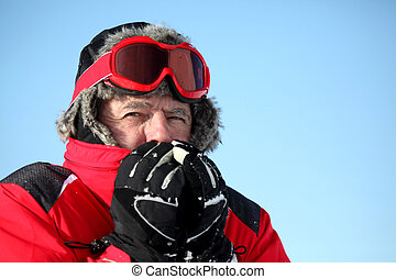 Man feeling cold on a winter's day