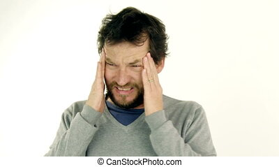 Man feeling headache migraine - Man feeling head exploding...