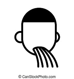 Man feeling sick, minimal black and white outline icon. ...