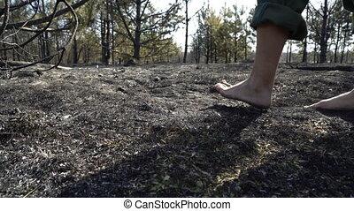 Man feet walking by burned forest, dangeroud drought...