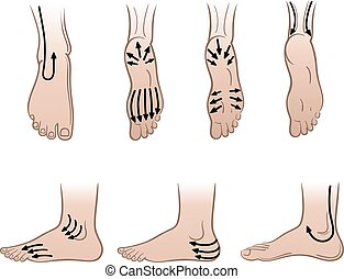 Man feet with massaging lines