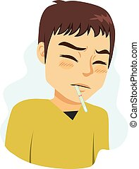 Man Fever Symptom - Young man with headache and thermometer...