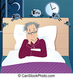 Man fighting insomnia - Middle age man lying in his bed in...