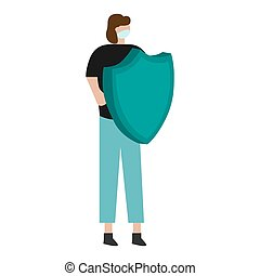 Man fighting with a virus on a white background. Vector illustration