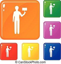 Man figure icons set vector color