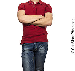 man figure in red shirt