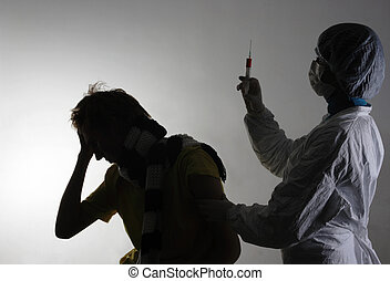 man, fik, a, influensa fotograferade, från, hans, läkare