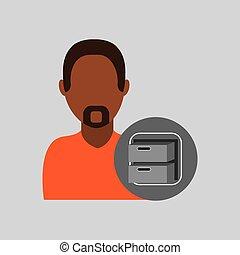 man file cabinet icon design graphic