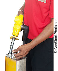 Man filling a gasoline container