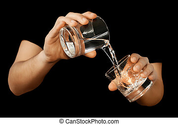 man filling a water glass