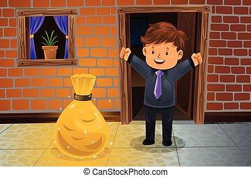 Man finding a bag of money