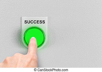 man finger press business success button concept