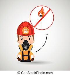 man fire helmet mask vector illustration graphic