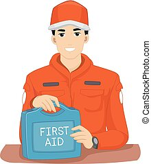 Man First Aid Kit Rescue Illustration