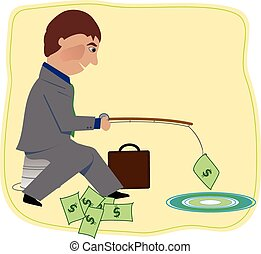 Man fishing for money