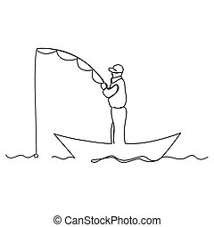 Man fishing from a boat. Line art