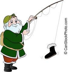 Man Fishing, illustration