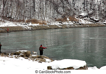 Man Fishing in Niagara - Niagara Falls Whirlpool