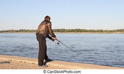 man fishing on a river - man fishing on a river at suny day...