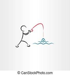 man fishing vector icon illustration