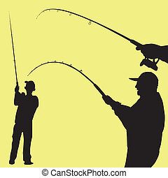 man fishing vector - Silhouette of a man fishing on yellow...