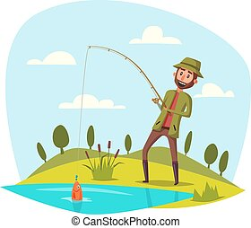Man fishing with rod, catching vector fish on hook