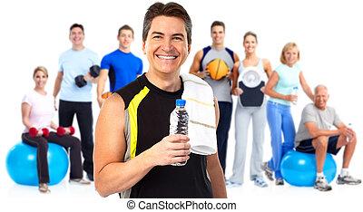 man, fitness, jonge, fles, water.