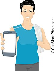 Man Fitness Mobile App - Illustration of a Man in Workout...