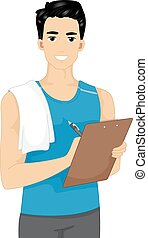 Man Fitness Trainer - Illustration Featuring a Male Fitness...